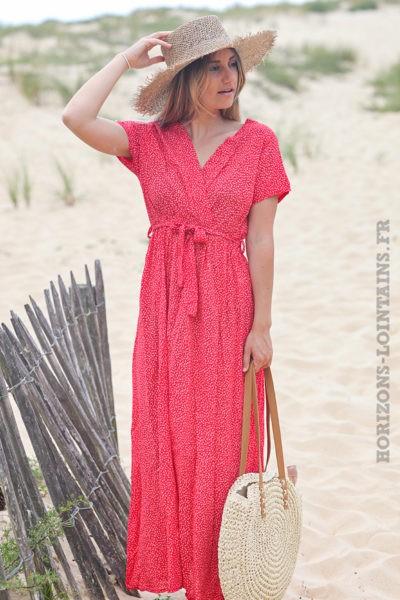 Robe longue rouge manches courtes motifs petites fleurs D58 2