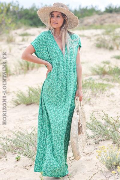 Robe-longue-verte-fleurie-avec-losanges-dorés-robes-esprit-bohème-hippie-D064