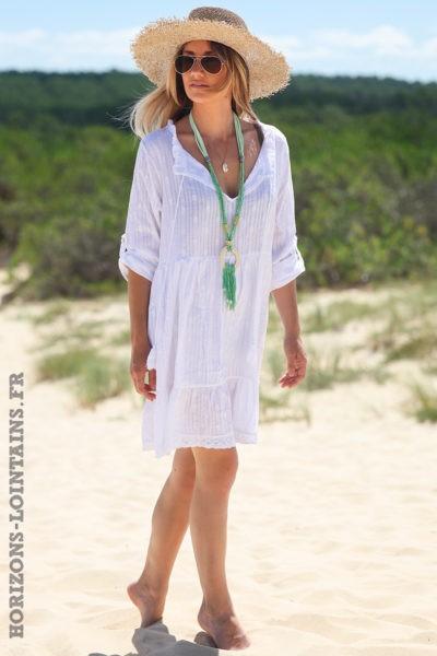 Robe-pois-rayures-blanche-vêtements-femme-hippie-look-bohème-D054-02