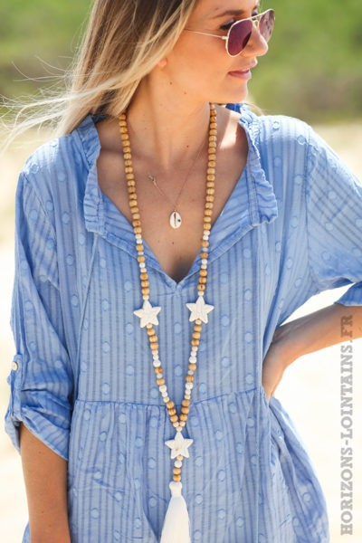 Robe-pois-rayures-bleu-lavande-vêtements-femme-hippie-look-bohème-D054