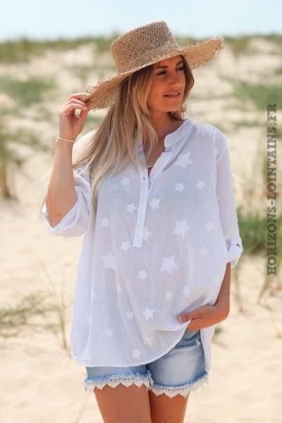 Tunique-blanche-voile-de-coton-étoiles-brodées-D125