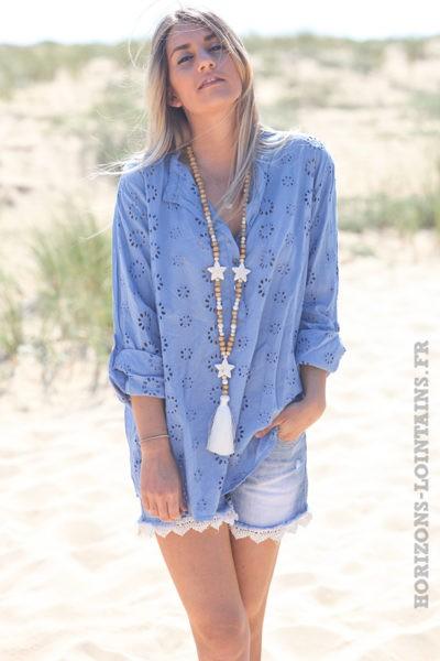 Tunique-bleu-lavande-coton-fleurs-broderie-anglaise-blouse-hippie-style-bohème-D108