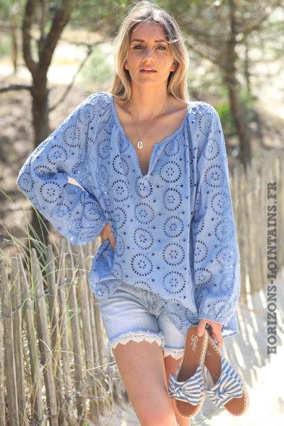 Tunique-bleu-lavande-manches-longues-broderie-anglaise-blouse-bohème-esprit-hippie-D113