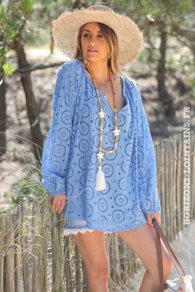Tunique-bleu-manches-longues-broderie-anglaise-blouse-bohème-esprit-hippie-D113