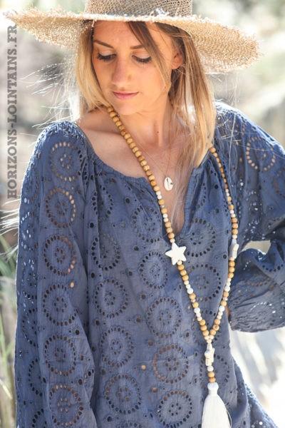 Tunique-bleu-marine-manches-longues-broderie-anglaise-blouse-bohème-esprit-hippie-D113