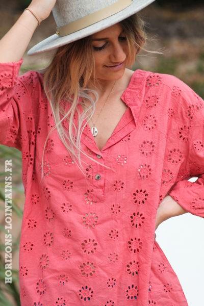 Tunique-bois de rose-coton-fleurs-broderie-anglaise-blouse-bohème-hippie