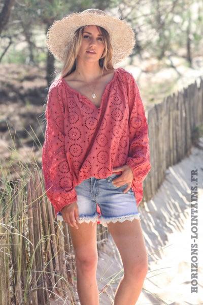 Tunique-bois-de-rose-manches-longues-broderie-anglaise-blouse-bohème-esprit-hippie-D113