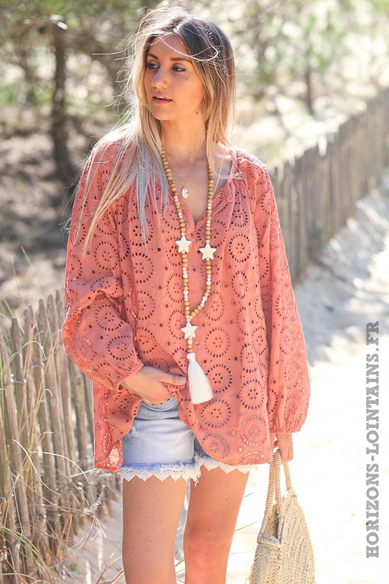 Tunique-couleur-pêche-manches-longues-broderie-anglaise-blouse-bohème-esprit-hippie-D113