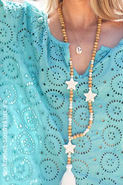 Tunique-couleur-turquoise-clair-manches-longues-broderie-anglaise-blouse-bohème-esprit-hippie-D113