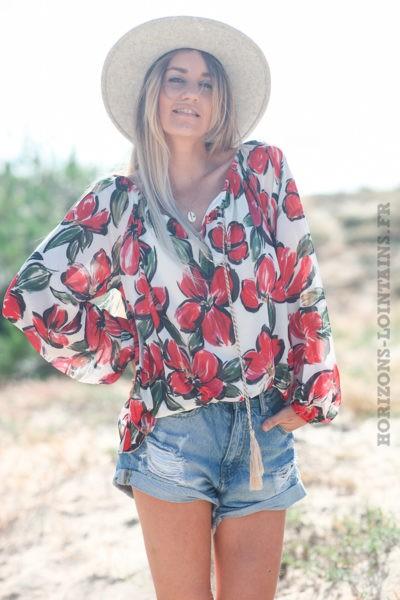 Tunique-manches-longues-col-élastique-motifs-fleurs-rouge-d119