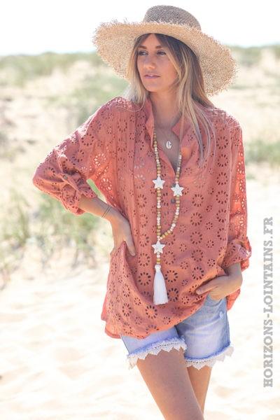 Tunique-peche-coton-fleurs-broderie-anglaise-blouse-hippie-style-bohème-vêtement-femme-D108