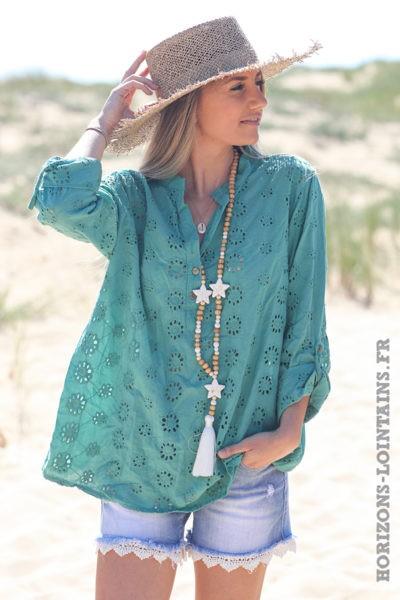 Tunique-vert-céladon-coton-fleurs-broderie-anglaise-blouse-hippie-style-bohème-D108
