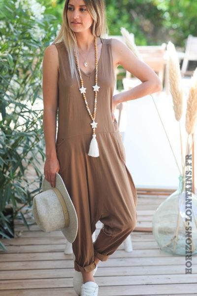 Combipantalon-camel-baggy-matière-coton-combi-pantalon-femme-look-moderne-D016