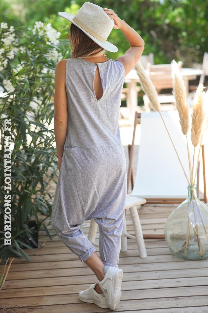 Combipantalon-gris-chiné-baggy-matière-coton-combi-pantalon-femme-look-moderne-D016