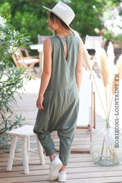 Combipantalon-kaki-baggy-matière-coton-combi-pantalon-femme-look-moderne-D016