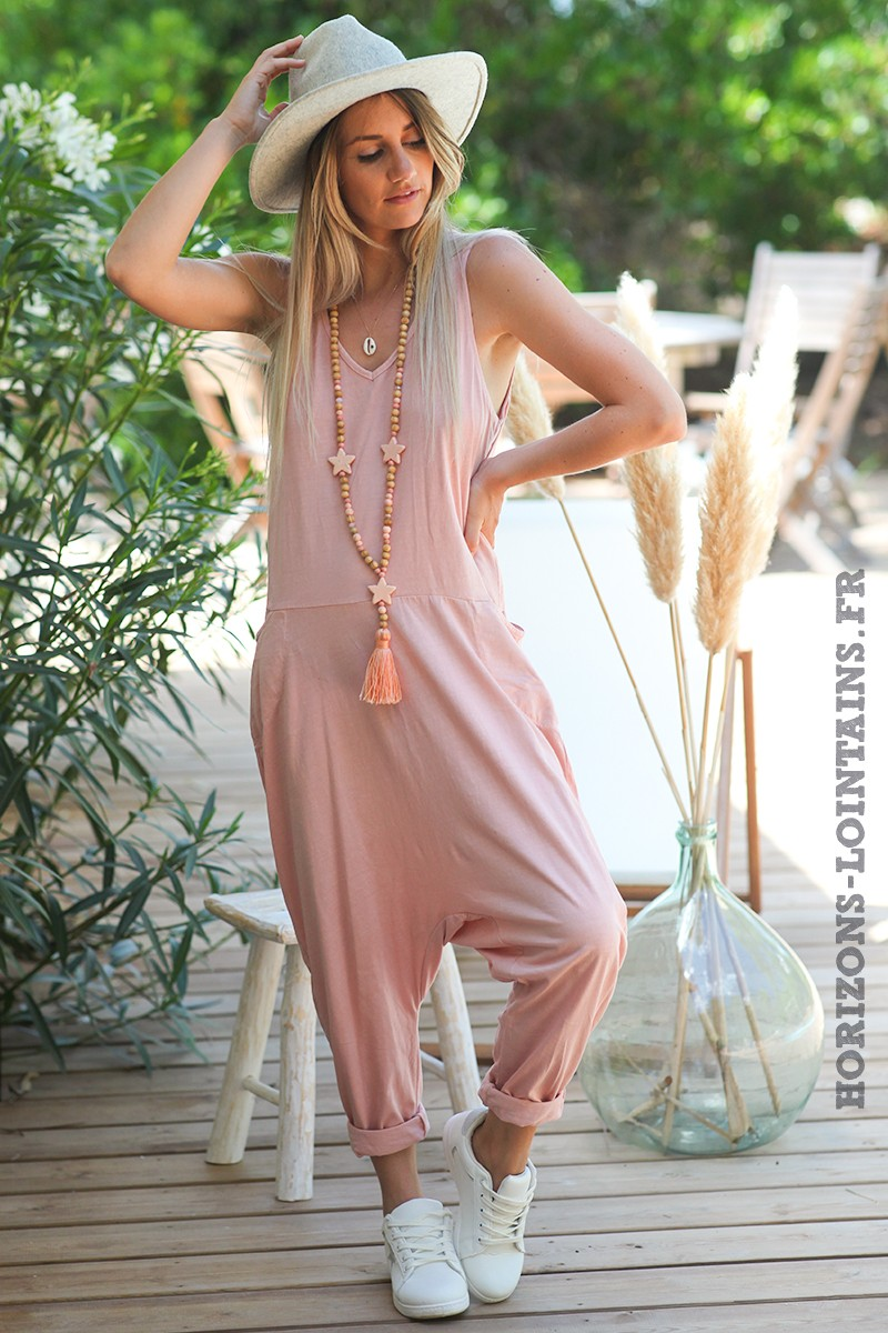 Combipantalon-rose-poudré-baggy-matière-coton-combi-pantalon-femme-look-moderne-D016