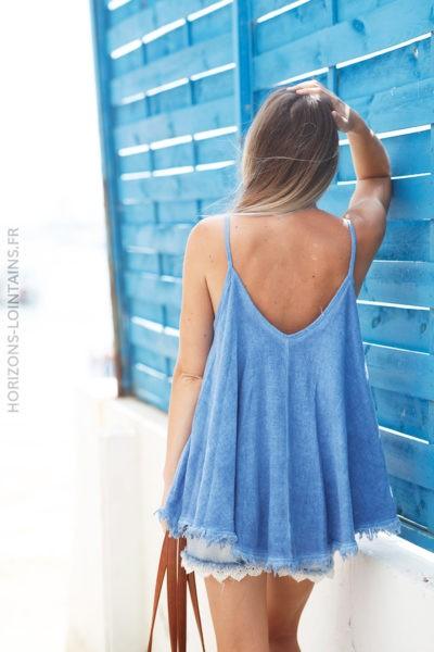 Débardeur bleu mi coton mi lin finitions franges d133 2