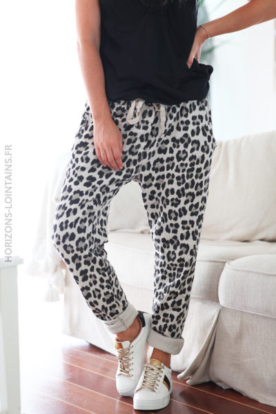 Pantalon beige leopard avec ceinture élastique D049 1