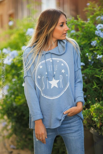 Pull bleu jean clair confort à capuche coutures extérieures Little Star d131 2