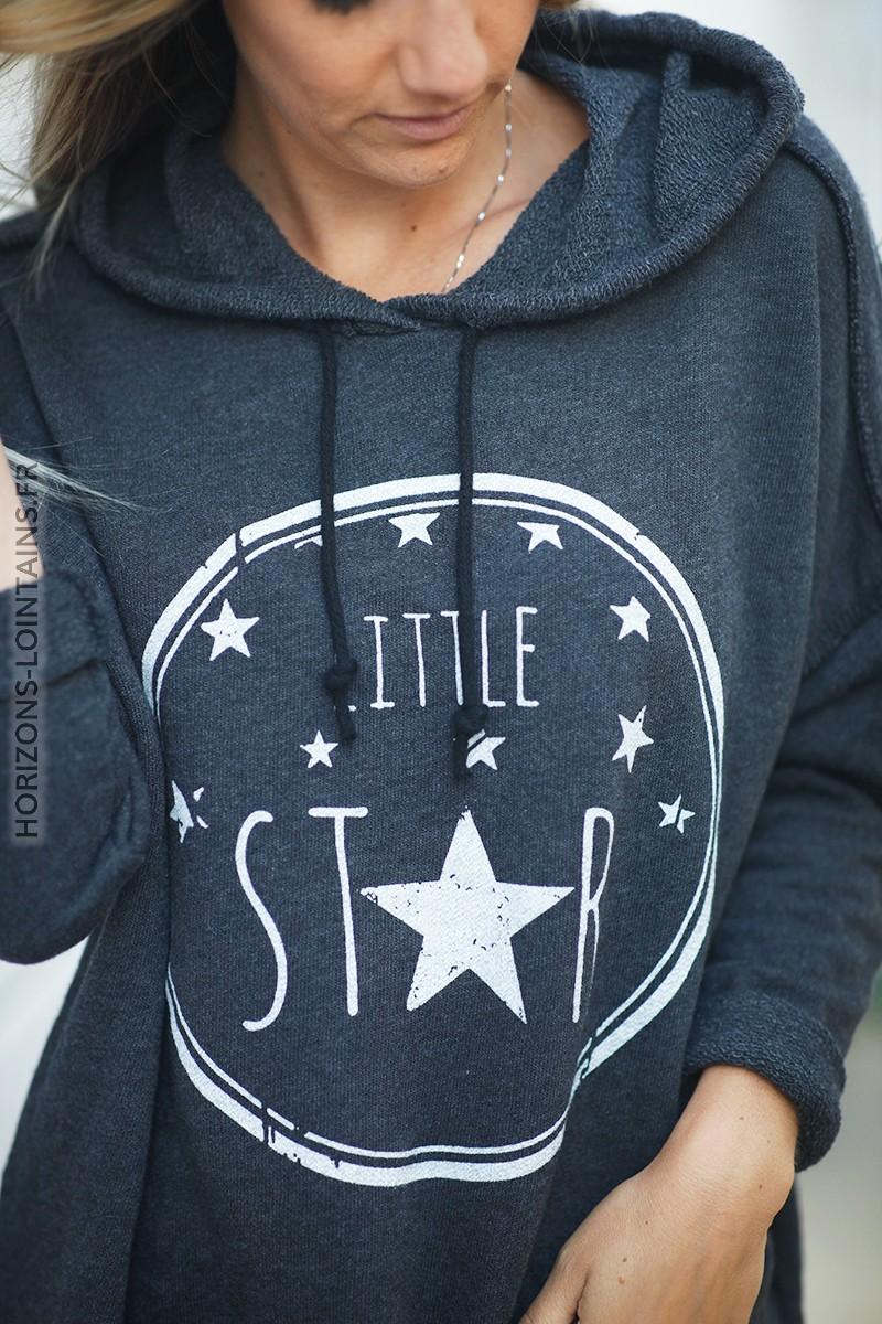 Pull gris foncé confort à capuche coutures extérieures Little Star d131 2