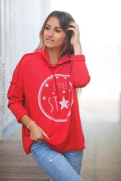 Pull rouge confort à capuche coutures extérieures Little Star d131 2