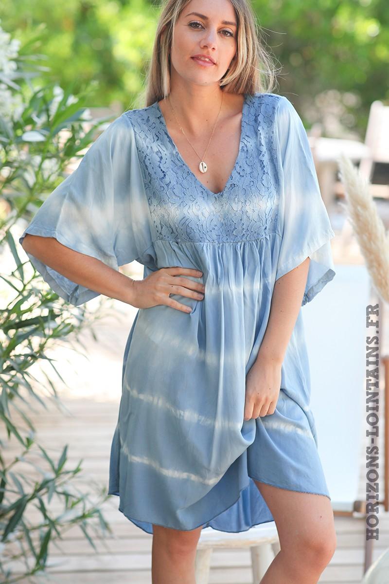 Robe-bleu-ciel-tie-and-dye-haut-dentelle-vêtement-femme-bohème-esprit-hippie-D074