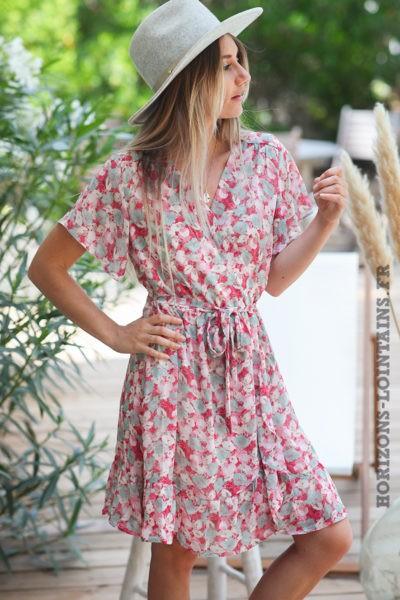 Robe-cache-coeur-avec-imprimé-pivoines-roses-robes-colorée-bohème-hippie-D082