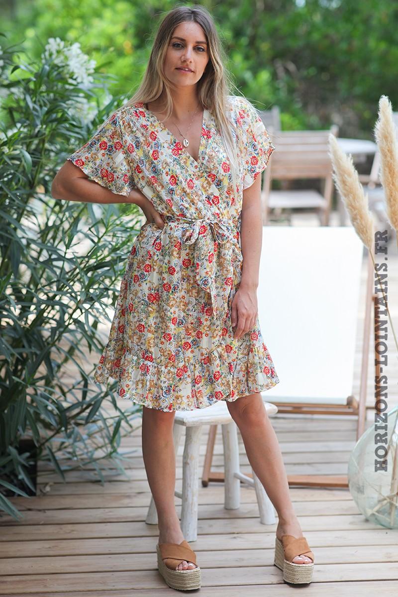 Robe-cache-coeur-avec-motif-fleuri-coloré-doré-robes-bohème-esprit-hippie-D081