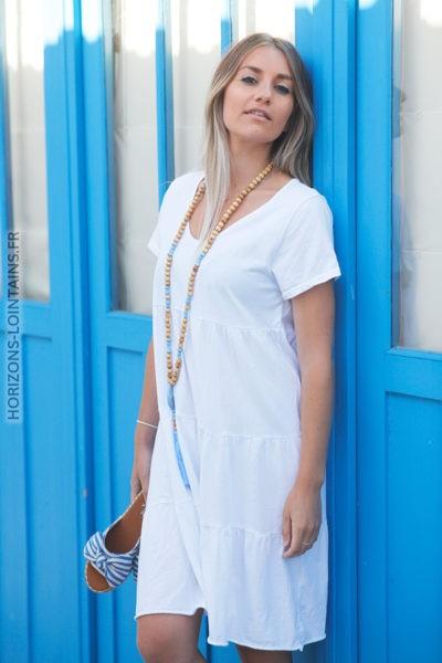 Robe en coton unie blanche manches courtes d68 2