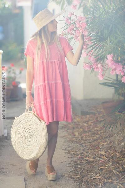 Robe en coton unie rose corail manches courtes d68 2