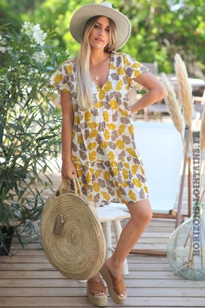 Robe-légère-col-V-motif-feuilles-ginkgo-moutarde-taupe-robes-bohème-style-hippie-D079