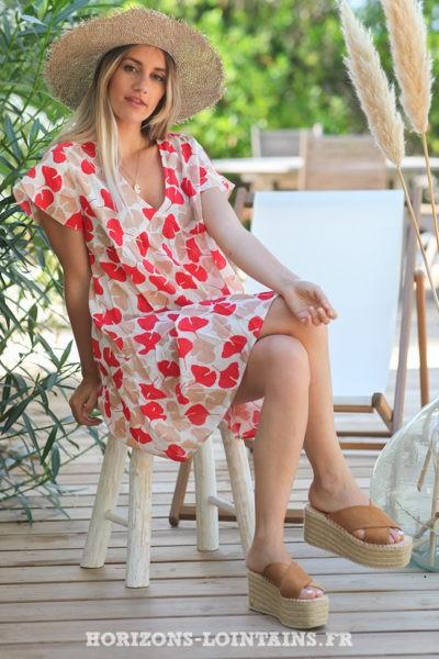 Robe-légère-col-V-motif-feuilles-ginkgo-rouge-grise-robes-bohème-style-hippie-D079