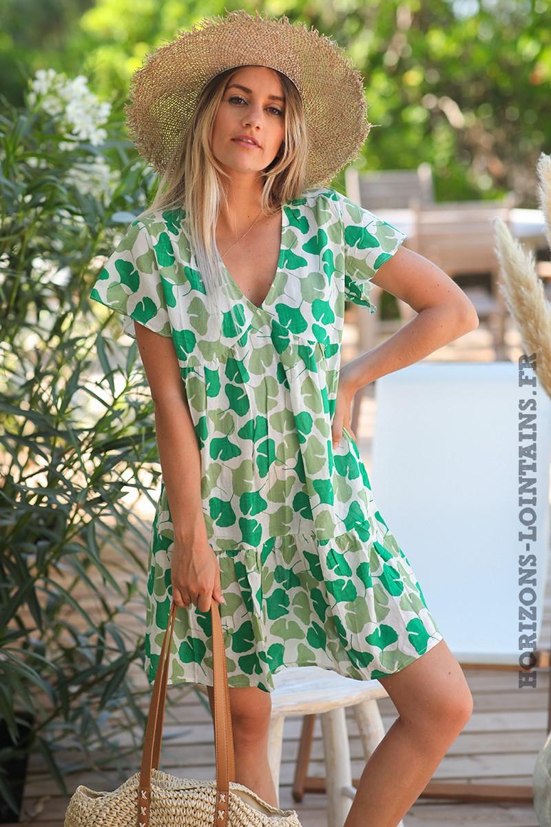 Robe-légère-col-V-motif-feuilles-ginkgo-vertes-grises robes-bohème-style-hippie-D079