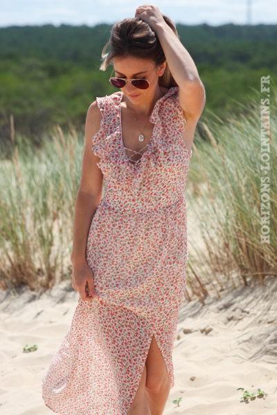 Robe-longue-écru-dos-nu-avec-motifs-petites-fleurs-vêtement-femme-bohème-hippie-D067