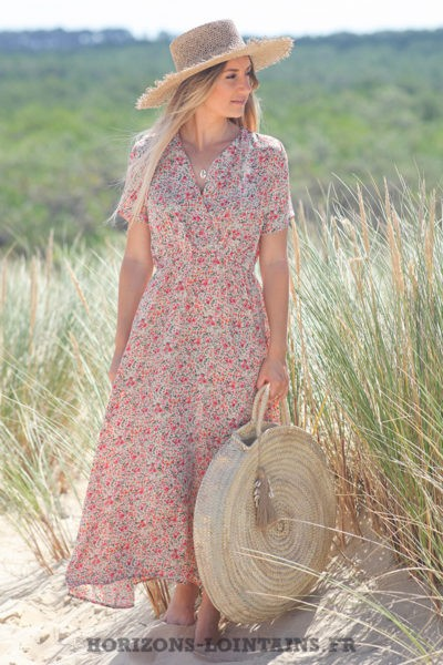 Robe-longue-écrue-cache-coeur-avec-imprimé-fleuri-look-hippie-vêtement-femme-bohème-D076