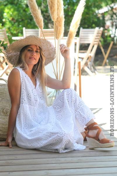 Robe-longue-blanc-sans-manches-broderie-anglaise-robes-bohème-esprit-hippie-vêtement-femme-D088