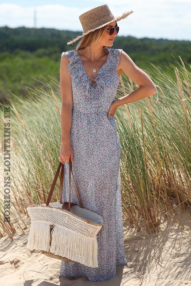 Robe-longue-bleu-ciel-dos-nu-avec-motifs-petites-fleurs-vêtement-femme-bohème-hippie-D067