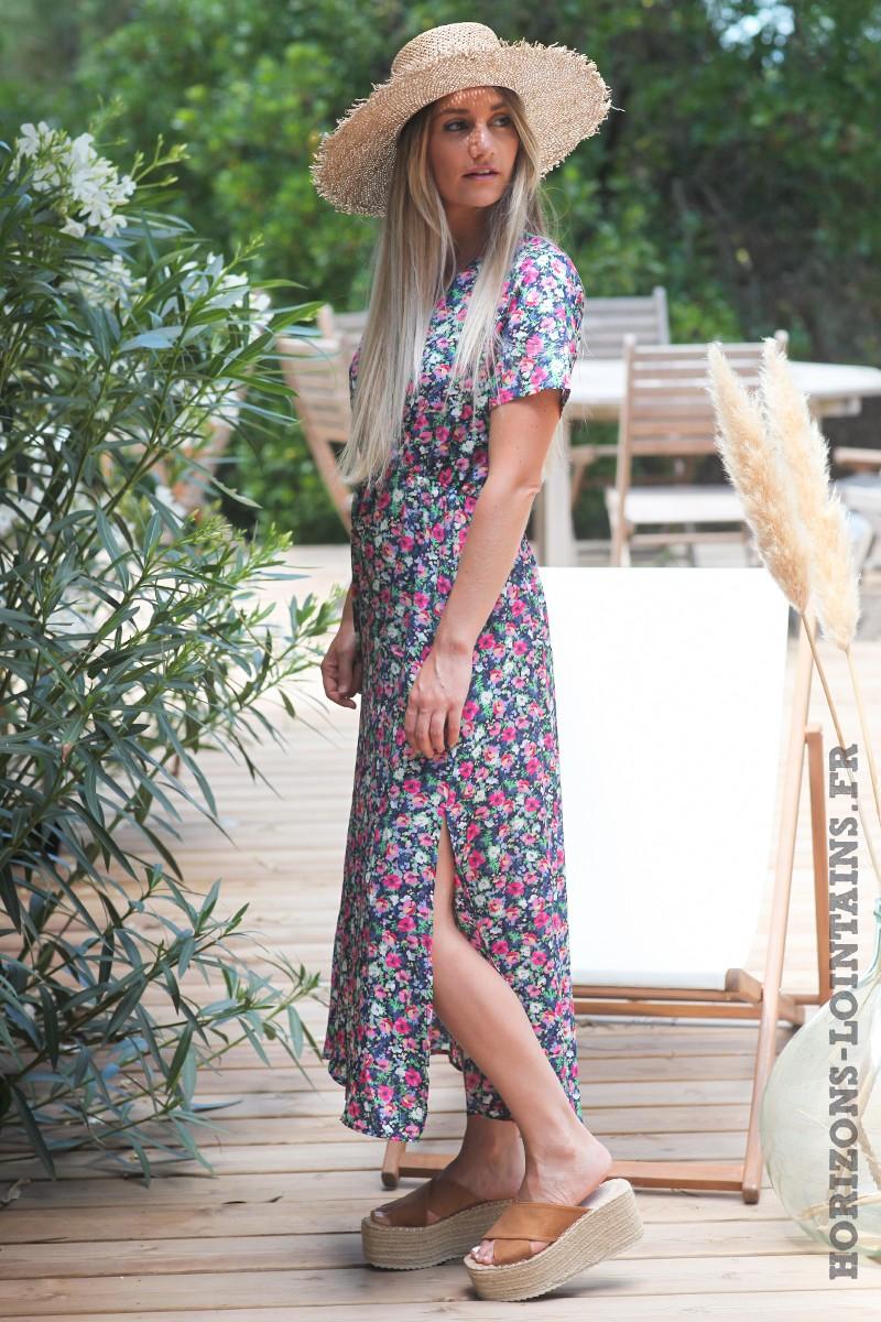 Robe-longue-bleu-marine-cache-coeur-motifs-coquelicots-robes-fleurs-esprits-bohème-femme-hippie-D075