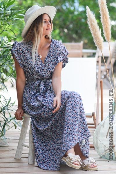 Robe-longue-bleu-marine-cache-coeur-petites-fleurs-manches-volants-robes-bleue-hippie-bohème-D089
