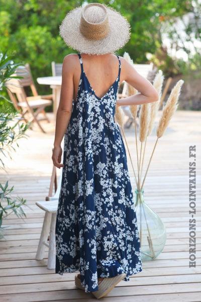 Robe-longue-bleu-marine-fluide-bretelles-motifs-fleurs-cerisier-robes-bohème-style-hippie-D072