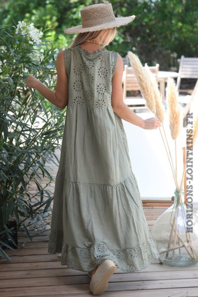 Robe-longue-kaki-sans-manches-broderie-anglaise-robes-bohème-esprit-hippie-vêtement-femme-D088