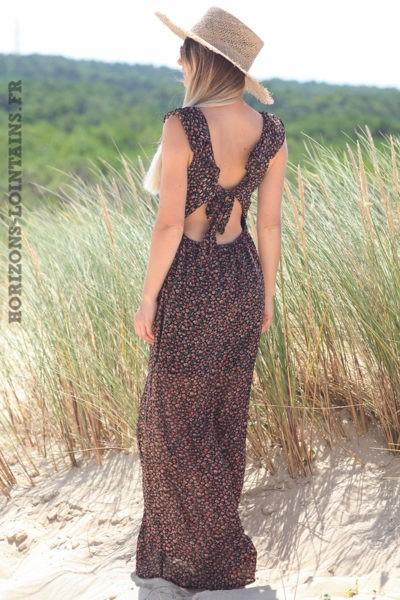 Robe-longue-noire-dos-nu-avec-motifs-petites-fleurs-vêtement-femme-bohème-hippie-D067