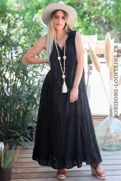 Robe-longue-noire-sans-manches-broderie-anglaise-robes-bohème-esprit-hippie-vêtement-femme-D088