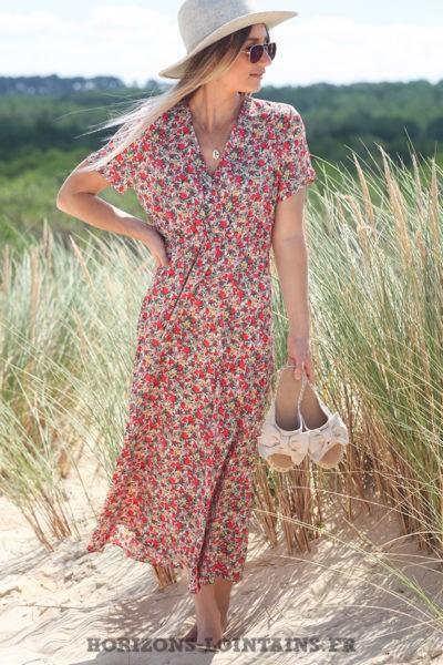 Robe-longue-rose-cache-coeur-avec-imprimé-fleuri-look-hippie-vêtement-femme-bohème-D077-02