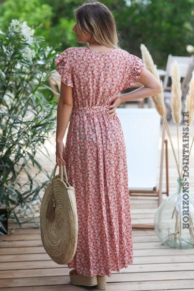 Robe-longue-rose-poudré-cache-coeur-petites-fleurs-manches-volants-robes-hippie-bohème-D089