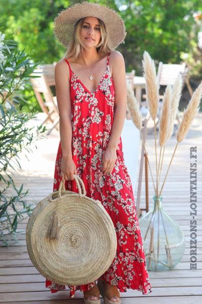 Robe-longue-rouge-fluide-bretelles-motifs-fleurs-cerisier-robes-bohème-style-hippie-D072