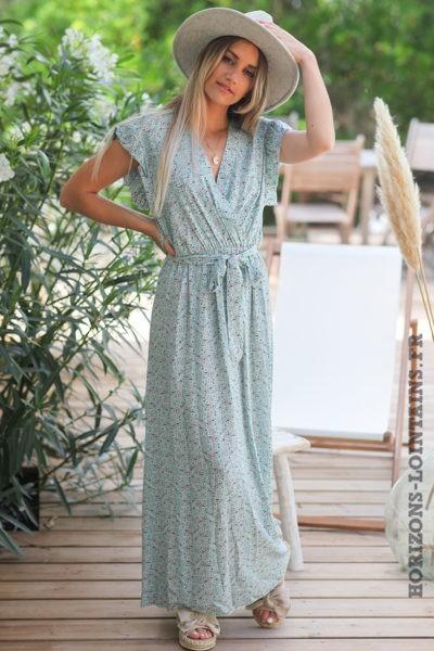 Robe-longue-vert-eau-cache-coeur-petites-fleurs-manches-volants-robes-turquoise-hippie-bohème-D089