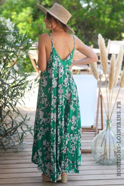 Robe-longue-verte-fluide-bretelles-motifs-fleurs-cerisier-robes-bohème-style-hippie-D072