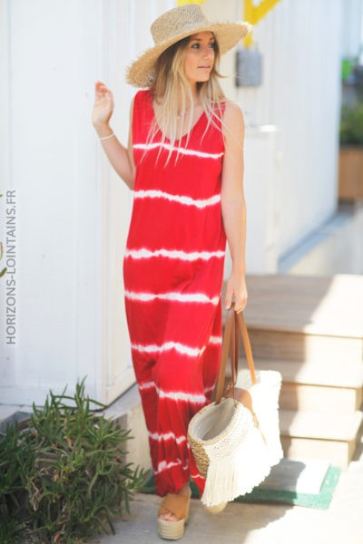 Robe rouge sans manche tie and dye d90 2