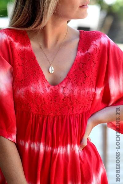 Robe-rouge-tie-and-dye-haut-dentelle-vêtement-femme-bohème-esprit-hippie-D074